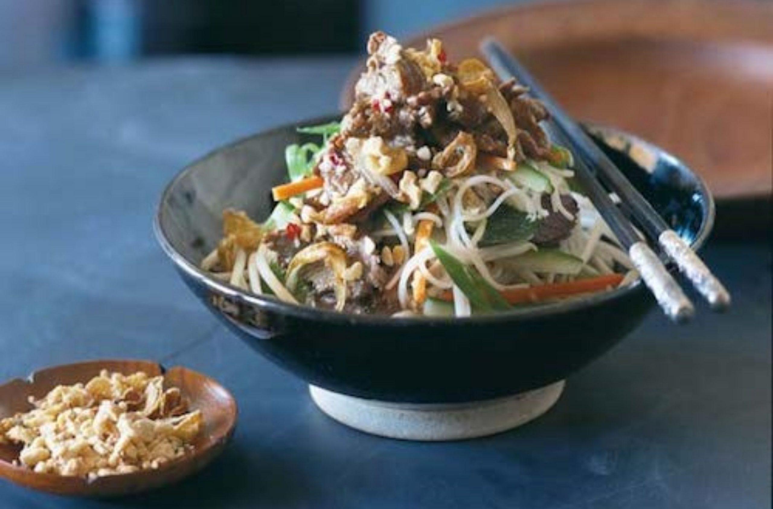 Lamb or beef noodles and peanut salad