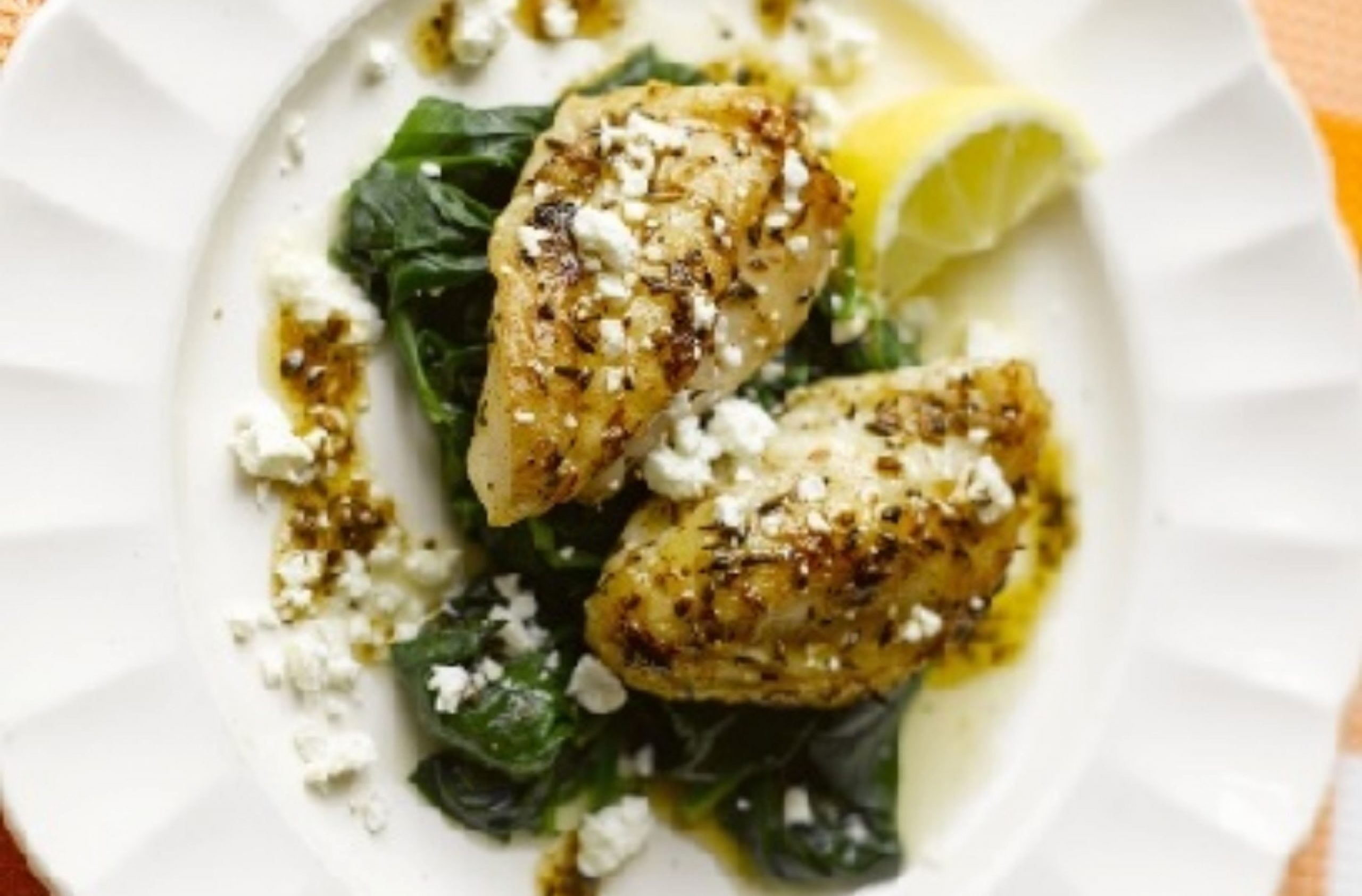 Monkfish with fresh spinach & feta
